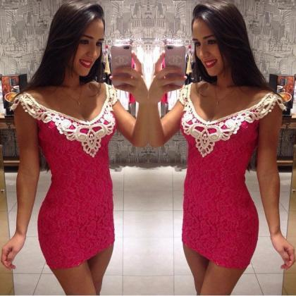 Pink lace dress sexy package hip