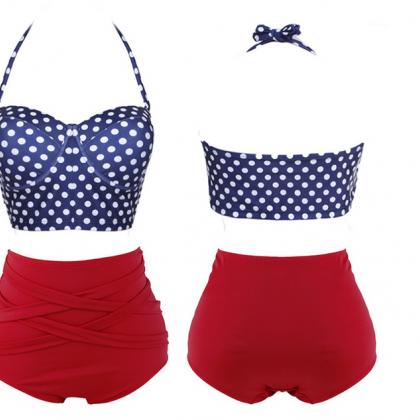 Polka Dots Two-Piece Bikini Featuri..