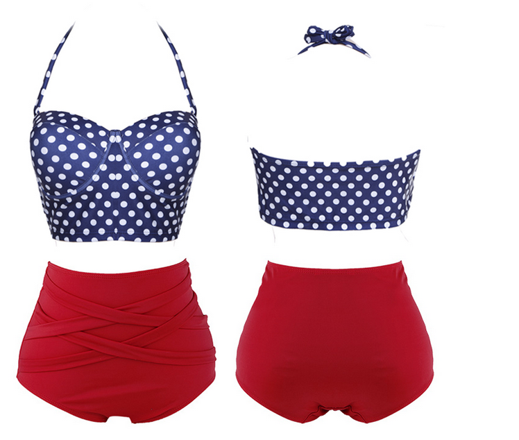 Polka Dots Two-Piece Bikini Featuring Halter strap Top and High Rise Bottom